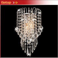 ZX Hot Sale K9 Crystal Stainless Steel E14 LED Wall Lamp For Bedside Hotel Bedroom Staircase