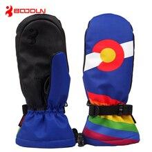 Best Price Boodun Waterproof Warm Snowboard Mittens Ice Skating Gloves Ski Accessories Thermal Mountain Skiing Equipment Guanti Invernali