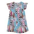 Directo de fábrica de la Venta de los Bebés del Verano Vestido Estampado de Plumas de Algodón Niños Primavera Ropa Boutique Kids Ruffle Lindo Vestido DX014