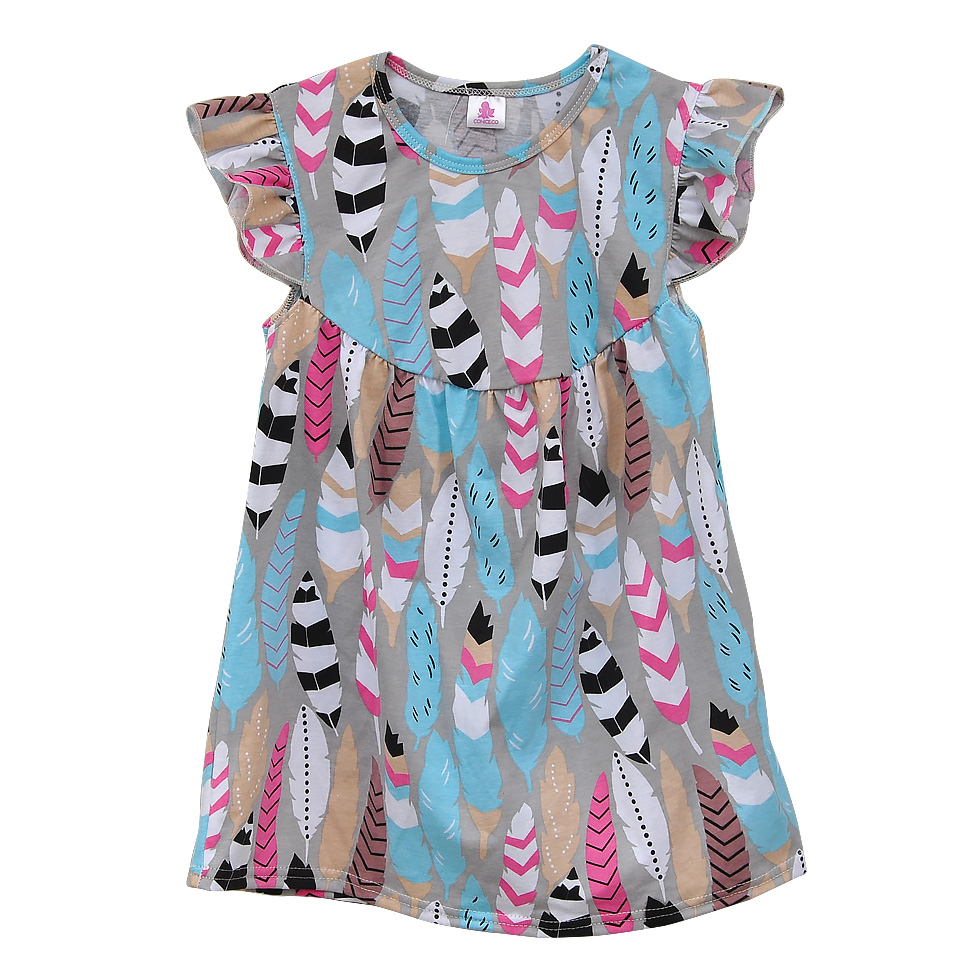 Factory Direct Sale Baby Girls Summer Dress Feather Print Cotton Children Spring Clothing Boutique Kids Ruffle