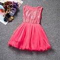 Aniversário do partido da flor de tule vestido da menina de verão 2017 nova lantejoula princess tutu vestido de crianças vestidos de meninas roupas roupas para crianças