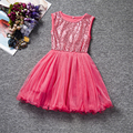Flower Party Girl Tulle Dress Summer 2017 New Birthday Sequin Princess Tutu kids Dresses Girls Clothes Children Clothing dress