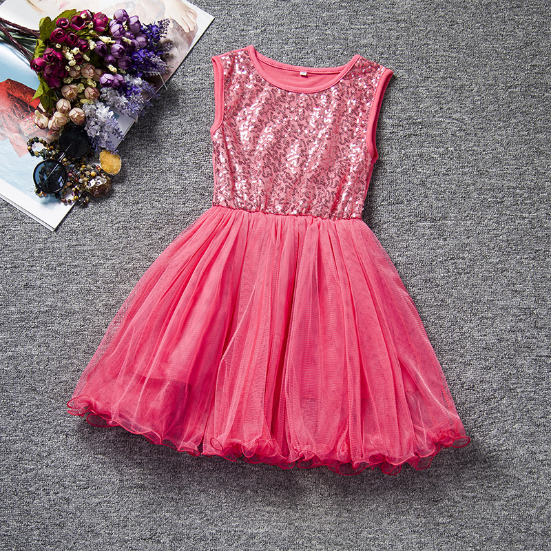 Flower Party Girl Tulle Dress Summer 2018 New Birthday Sequin Princess Tutu kids Dresses Girls Clothes Children Clothing dress