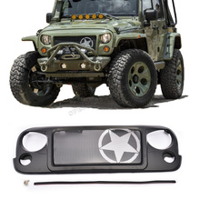 High Quality ABS Avenger Mesh Grill five-pointed star  Black Front Grille fit for Jeep Wrangler JK Rubicon Sahara