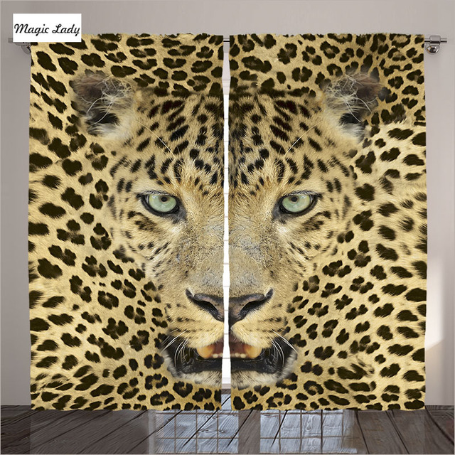 Curtains Animal Living Room Bedroom Wild Cat Leopard Head Skin Texture Decor Collection Yellow Black 2
