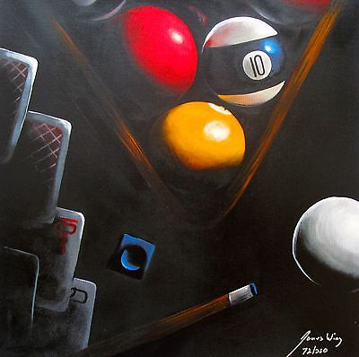 James Wing Hand Paints On Canvas Black Poker Billiards Pool Table - Pool table painting