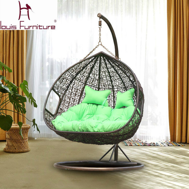 Attractive Louis Fashion Swing Cany Chair For Garden Double PE Rattan Sofa Outdoor  Swing Hanging Basket