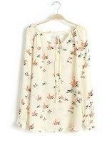 осень дикий европейский и америка ретро принт цвет без тары длинная рукавами шифон рубашка блузка ремни ft711