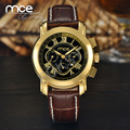 MCE Brand Gold multi-function Automatic Mechnical Watch Leather Strap Wristwatch Men with original gift box 318