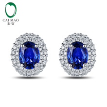 Free shipping 14KT/585 White Gold 1.93ct Natural Sapphire 0.5ct Natural Round Cut Diamond Engagement Gemstone Earring Jewelry