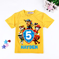 2-7 t ropa del muchacho camisetas patrulla pata de perro de dibujos animados niños niñas ropa de algodón de la camiseta ropa del bebé del verano Muchachas Del Muchacho Tee Tops