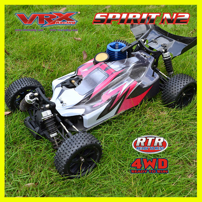RC auto 4WD VRX Racing SPIRIT N1 nitro buggy 1/10 krachtige. 18 nitro engine met glijbaan carburretor off road rc auto afstandsbediening