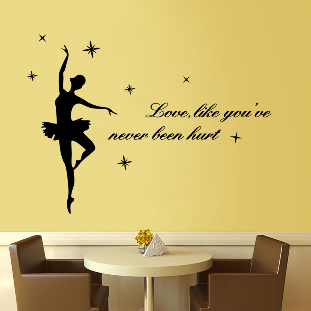 Art Wall Stickers Ballerina Ballet DIY love ,like you Home ...