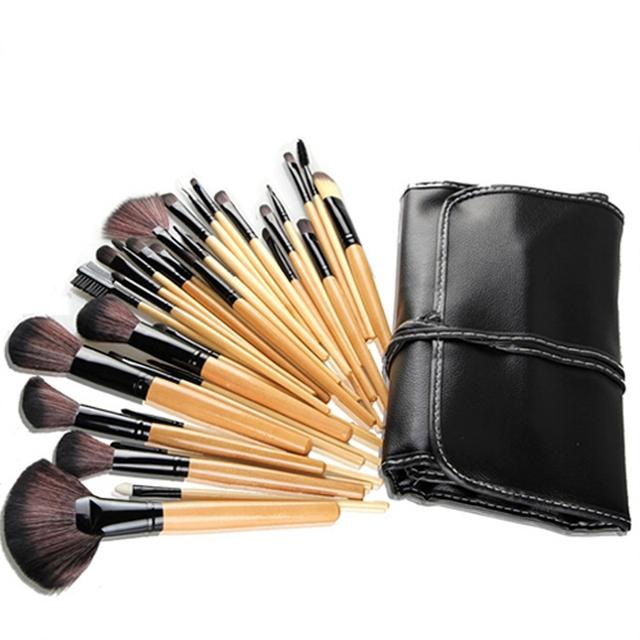 Profesional 32 Unids Conjunto Bolsa de Kits de Maquillaje Cosméticos Lápiz Labial Sombra de Ojos Pinceles de Maquillaje Brushs Polvo Bolsas
