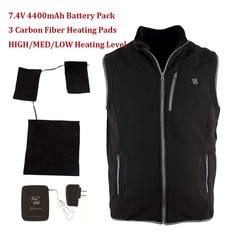 2017 New Winter Outdoor Sports 7.4V Electric Heating Vests Battery Heated Fleece Vest Men/Women with 3 Carbon Fiber Heating Pads electric heating heated down vest for skiing hiking camping winter men vest keep body warm for women and men with batteries