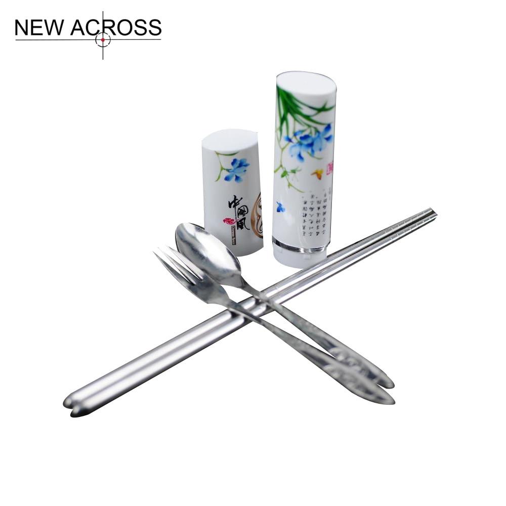 Gohide Portable Chinese Style Tableware Three Piece Set Stainless Steel Chopsticks Spoon Fork Dinnerware Kit Spoon