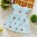 2016 baby girls summer dress clothing Baby new cute short sleeve flower print cotton dress