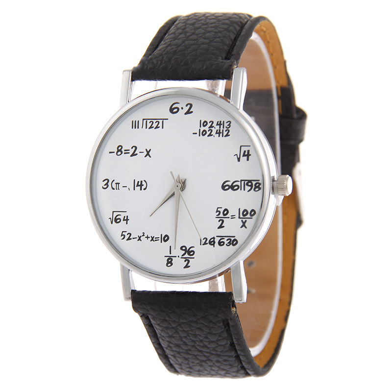FUNIQUE New Fashion Maths Formula Watch Leather Watchband Women Personalized Dress Watches Popular Lovers Wristwatch Clock Hour