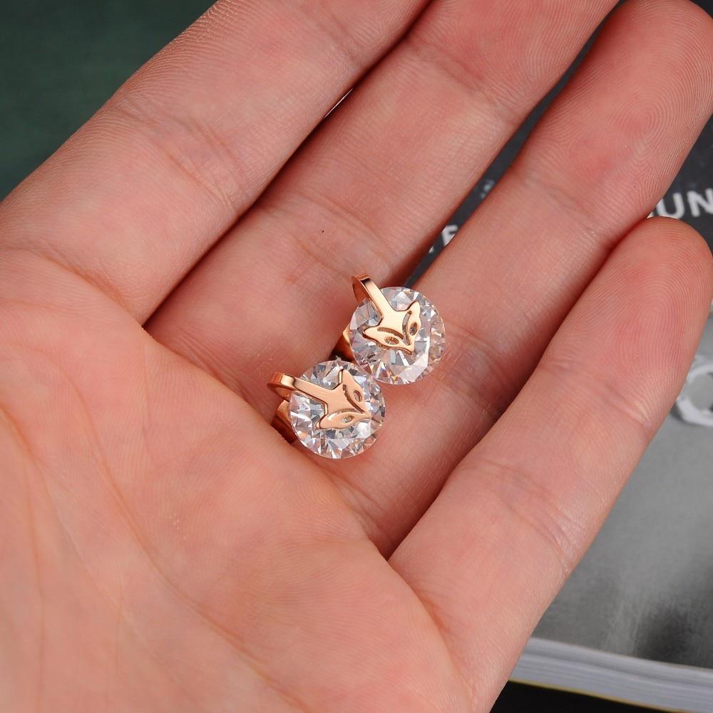Cute Little Fairy Fox rose gold color stud earring fashion ...