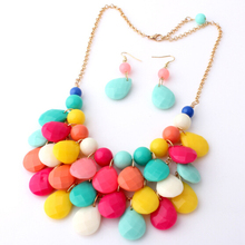 цена на Free Shipping! Bohemia Color Round Water Drop Beads Choker Necklace With Earrings Suits Fashion Necklace Jewelry Sets For Women