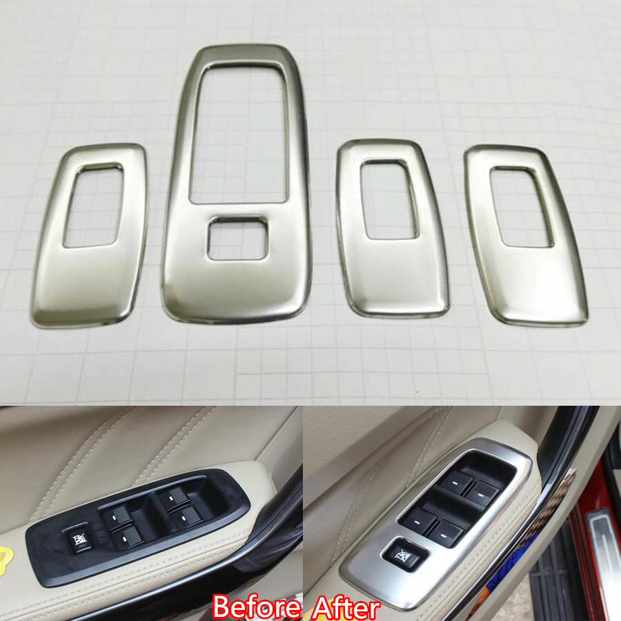 Yaquicka 4pcs auto car interior armrest window adjust button switch frame cover trim for ford everest