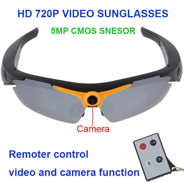 720P 5.0MP Glasses Support Camera Video Remote Controller 170 Degree Wide-Angle Smart Electronics SunglassDV-05 With Sunglasses