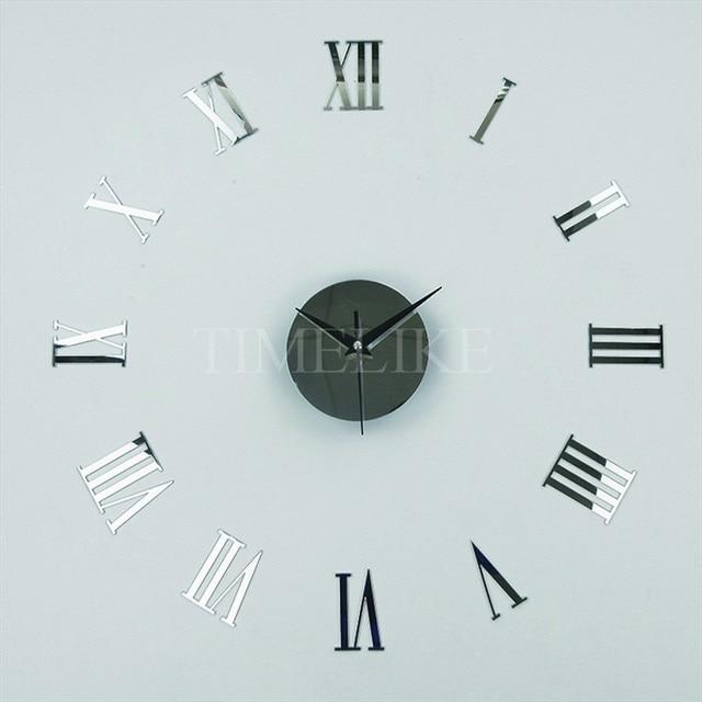 Diy Spiegel Wandaufkleber Uhr Römischen Zahlen Acryl 3d Wanduhr