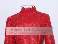 бесплатная доставка осень / зима новая европа знаменитости мода искусственная кожа выдалбливают роскошный красное платье ss12420