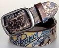 Popular Estilo de Impresión Digital de Cuero Cinturón Cinturón de piel de Vaca Correas Cinturones de Moda Hombre Mujer Unisex Carta Cartón Impreso Fresco Joven