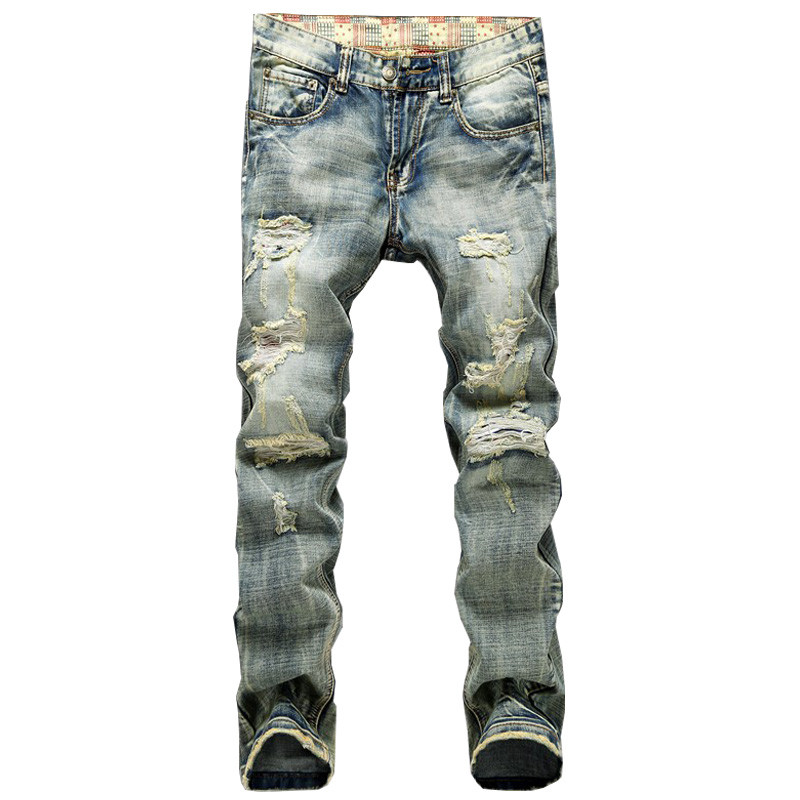 Newsosoo Men Ripped Jeans Pants With Holes Vintage Distressed Denim Joggers Straight Destoyed Torn Jean Trousers Plus Size 28-42