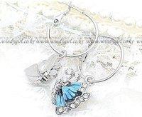 2015 бренд дизайнер ювелирных украшений серьги симпатичные серьги бабочки синий длинная ювелирные изделия для женщин бесплатная доставка ЭП-0013