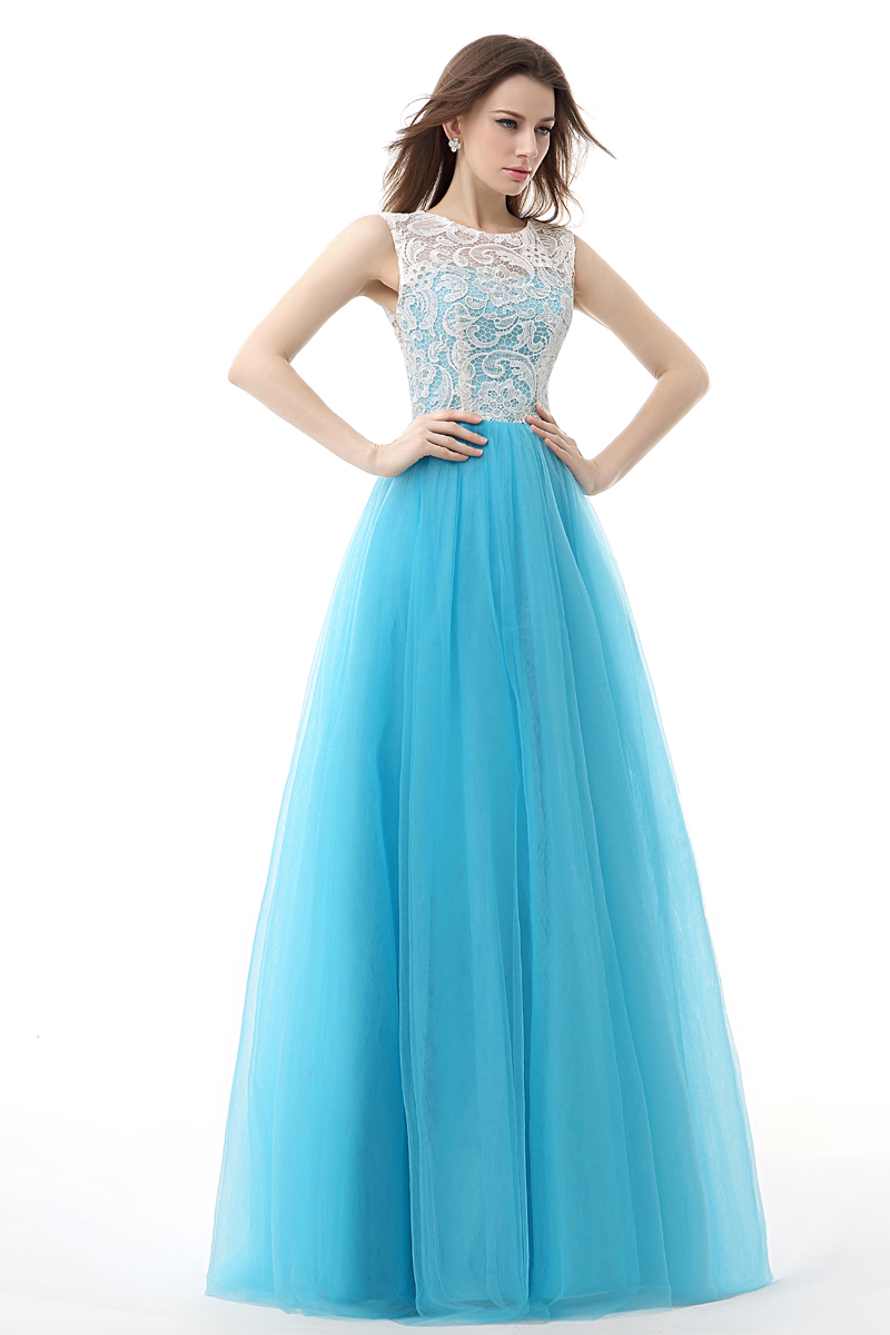 New Arrival Top Lace Prom Dresses Blue Long Puffy Prom Dresses Back ...