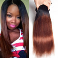 Full Shine  1b 30 Ombre Brazilian Hair Two Tone Brazilian Weave Hair Straight Human Hair Extensions Grade 10a 3 Piece