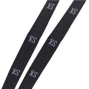 """DoreenBeads размер этикетки одежда тканые бирки XS-2XL белый черный 32 мм(1 2/"""") x 12 мм(4/8"""") 1 рулон(около 400 шт - Цвет: black XS"""