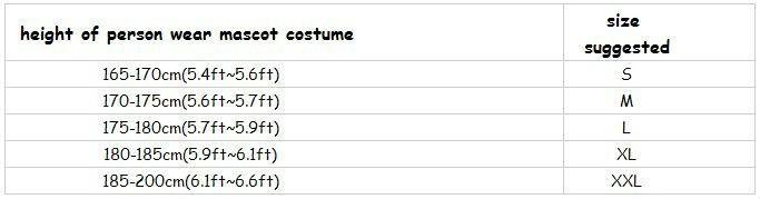 mascot costume size