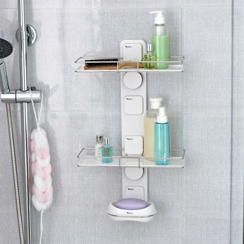 Superieur Bathroom DIY Wall Suction Cup Shelving Double Bathroom Shelf And Soap Dish  Holder Bathroom Accessories,Free Shipping In Bathroom Shelves From Home ...
