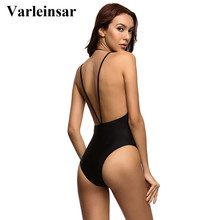 Black backless one piece swimwear