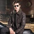 2016 мужская натуральной кожи куртка свиной кожи Натуральной Кожи куртка мужчины кожаное пальто меховой воротник обивка хлопка куртки мотоцикла