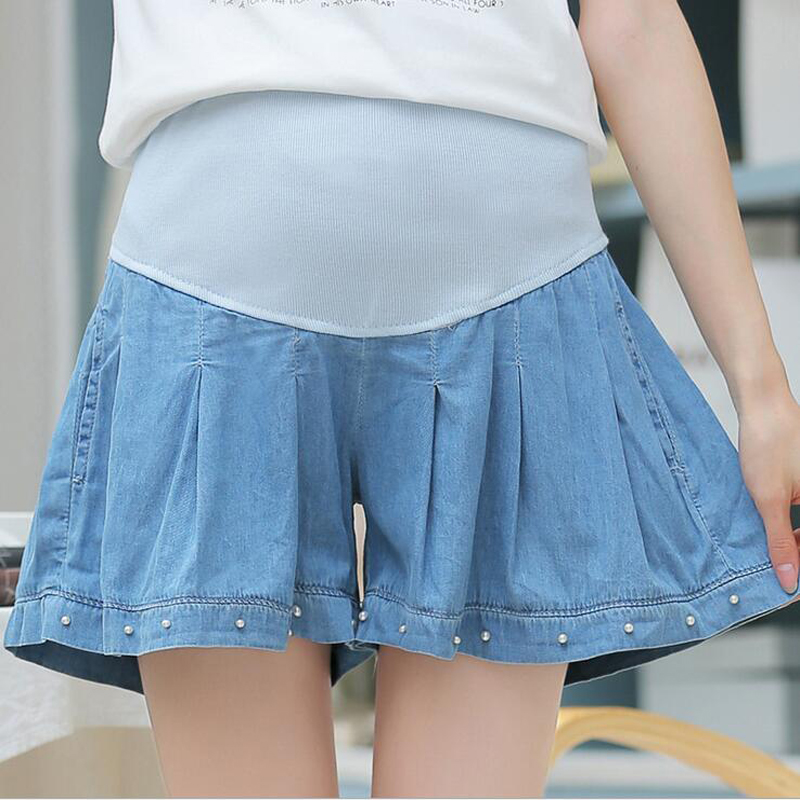 2018 Pregnant Flare Denim Mini Skirt for Maternity Whole Price Pleated with Pearls Around Hem