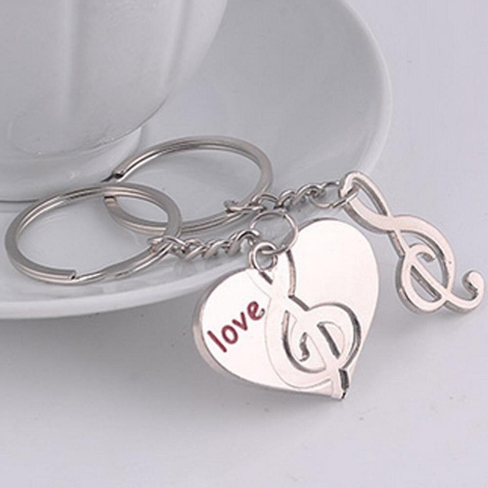 1 Par! os amantes de Presente chaveiro Casal Amor Do Coração Nota Musical  chaveiro Key Ring Frete Grátis e7ead81fb0
