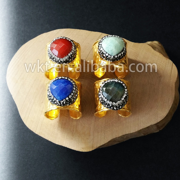 WT-R219  New Natural Fashion gorgeous heart shape gold stone ring  heart shape natural stone gold trim ring