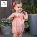 DB3304 dave bella ropa infantil del mameluco del verano del bebé recién nacido de algodón impresa flor chica floral lindo del mameluco del bebé de 1 unidades
