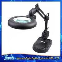 220V Double Lens 5X 8X Desk Fluorescent Ring Light Magnifying Glass Table Magnifier Lamp For Reading
