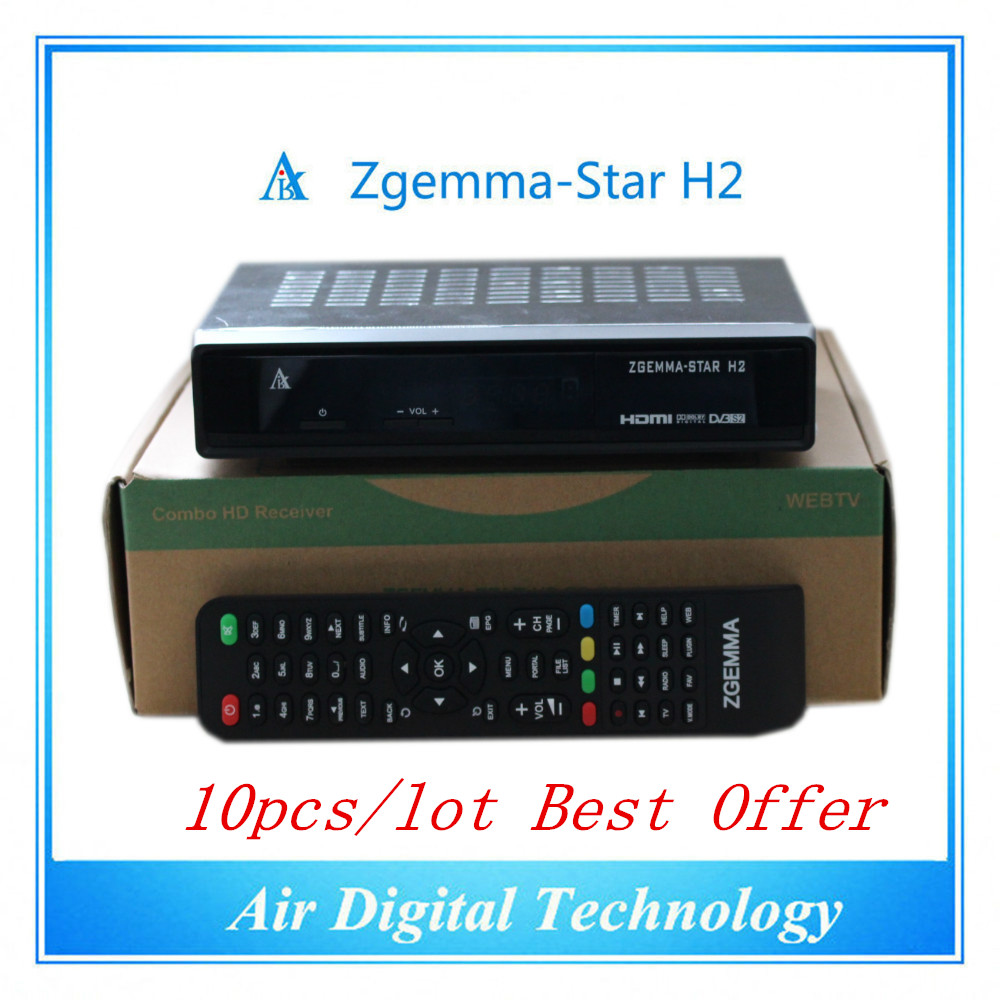 10pc/lot Full TV Channels Softwares Zgemma-Star H2 FTA HD Satellite Receiver With Enigma2 Linux OS DVB-S2+T2/C Twin Tuners