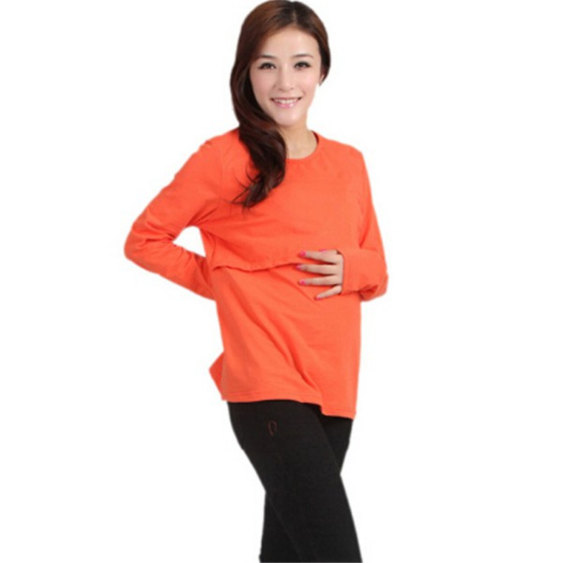 100% Bomuld Gravide Kvinder Toppe Moderskabstøj Nursing Langærmet O - Graviditet og moderskab - Foto 2