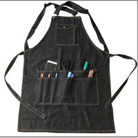 New Fashion Black Cotton Denim Apron Funny Cooking Work Aprons With Pockets Strap For Men Women