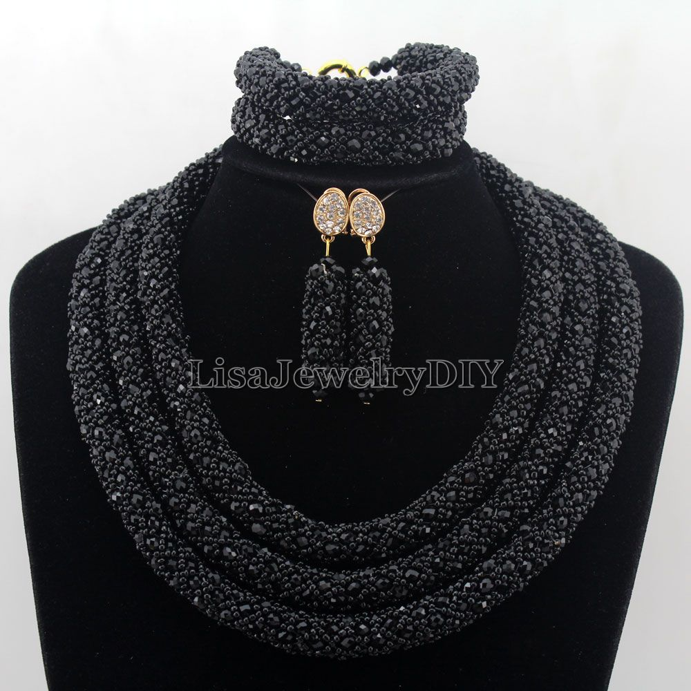 Splendid Statement Necklace African Jewelry Set African Crystal Jewelry Set for Wedding Statement Necklace Jewelry HD7427 nylon rope alloy statement necklace set