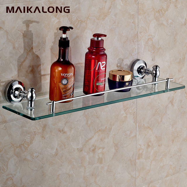 bathroom accessories products single shelfzinc alloy made baseglass shelf cosmetics shelf - Bathroom Accessories Glass Shelf
