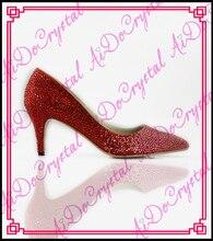 Aidocrystal benutzerdefinierte sexy roten niedrigen ferse spitz bowknot kristall dame/frau hochzeit schuhe für braut