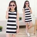 Тельняшках платья для девочек пляж платье без рукавов девочек одежда летний сарафан причинные детская одежда девочек Customes